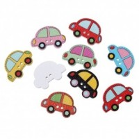 "LOGIN TO VIEW PRICINGWood Car Button25mm x 17mm(1"" x 5/8"")Mixed ColorsMin. 1 Doz. - Product Image"
