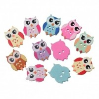"Wood Owl Button21mm x 17mm x 4mm(7/8"" x 5/8"" x 1/8"")Mixed ColorsMin. 1 Doz. - Product Image"