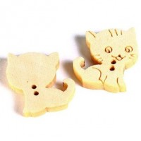 "Wood Cat ButtonNatural Stamped16mm (5/8"")Natural Wood StampedMin. 1 Doz. - Product Image"