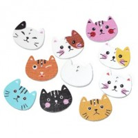 "Wood Cat Button20mm x 16mm(3/4"" x 5/8"")Mixed ColorsMin. 1 Doz. - Product Image"