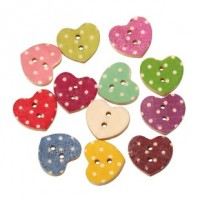 "Wood Heart Button18mm x 16mm(3/4"" x 5/8"")Mixed ColorsMin. 1 Doz. - Product Image"