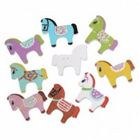 "Wood Horse Button30mm x 25mm(1"" x 1 1/4"")Mixed ColorsMin. 1 Doz. - Product Image"