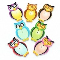 "LOGIN TO VIEW PRICINGWood Owl Button32mm x 20mm(1 1/4"" x 3/4"")Mixed ColorsMin. 1 Doz. - Product Image"