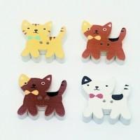 "Wood Cat Button25mm x 22mm x 5mm(1 1/4"" x 1 1/8"")Min. 1 Doz. - Product Image"