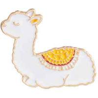 """LOGIN TO VIEW PRICINGBaby AlpacaWhite EnamelGold Alloy Edge30mm x 30mm(1"""" x 1"""") - Product Image"""