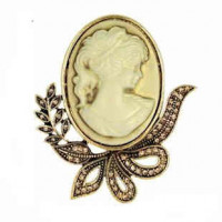 "LOGIN TO VIEW PRICINGLady Cameo ResinAntique Gold plated58mm x 50mm2 1/4"" x 2""  - Product Image"