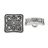 "Antique SilverSquare Carved13mm (1/2"")Min. 6 Units - Product Image"