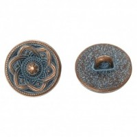"Antique CopperFlower Carved15mm ( 5/8"") diaMin. 1 doz. - Product Image"