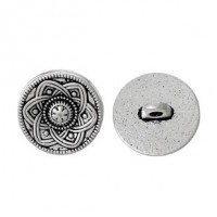 "Antique SilverFlower Carved15mm ( 5/8"") diaMin. 1 doz. - Product Image"