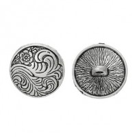 "Antique SilverFlower Carved17mm (5/8"")Min. 6 Units - Product Image"