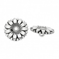 "Antique SilverCarved Flower17 mm ( 5/8"") DiaMin. 6 Units - Product Image"