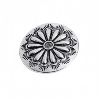 "Antique SilverFlower Carved30mm ( 1 1/8"") diaMin. 6 Units - Product Image"