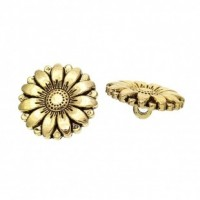 "LOGIN TO VIEW PRICINGAntique GoldCarved Flower17 mm ( 5/8"") DiaMin. 1 doz. - Product Image"