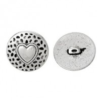 "Antique SilverHeart Carved18mm (3/4"") DiaMin. 6 Units - Product Image"