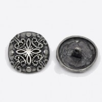 "Antique SilverFlower Carved25mm( 1"") diaMin. 1 doz. - Product Image"