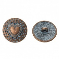 "Antique CopperHeart Carved18mm ( 3/4"") diaMin. 6 Units - Product Image"
