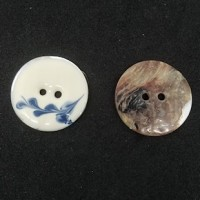 "Natural Shell ButtonEnamel Print24mm (1"") dia.Min. 6 Units - Product Image"