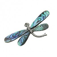 "DragonflyAbalone/Paua ShellBrass Setting55mm x 30mm2 1/4"" x 1"" - Product Image"