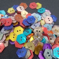 "Natural Shell ButtonDyed, Multi Color15mm (9/16"") hex.Min. 1 Doz. - Product Image"