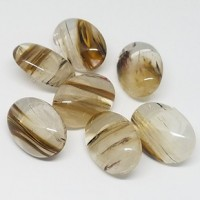 "Stone ButtonOval Clear/Brown24mm x 18mm(1"" x 7/16"")Min. 6 Units - Product Image"