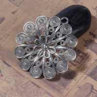 """LOGIN TO VIEW PRICINGFlowerAntique Silver HollowRound60mm2 1/2"""" dia. - Product Image"""