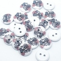 "Wood Cat Button14mm (9/16"") diaPainted WhiteMin. 1 Doz. - Product Image"