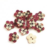"Wood Button Flower18mm (7/8"") diaMin. 1 Doz. - Product Image"