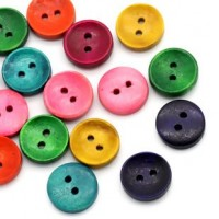 "LOGIN TO VIEW PRICINGWood ButtonDyed15mm (5/8"") dia.Min. 1 Doz - Product Image"
