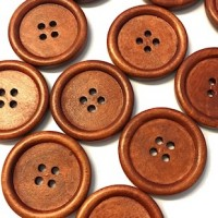 "Wood ButtonFlat 4-holes30mm (1 1/8"") diaMin. 1 Doz. - Product Image"