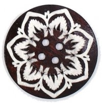 "Wood ButtonFlower60mm (2 3/8"") diaMin. 6 Units - Product Image"