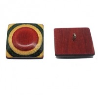 "Wood ButtonHand Carved28mm (1 1/8"") sq.Min. 6 Units - Product Image"