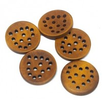 "Wood ButtonLace Cut Heart24mm (1"") dia.Min.1 doz. - Product Image"