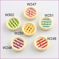"Wood ButtonStripes 6 colors20mm (3/4"") diaMin. 1 Doz - Product Image"
