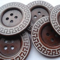 "Wood ButtonGreek Key60mm (2 3/8"") diaMin. 6 Units - Product Image"