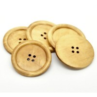 "Wood ButtonPlain50mm (2"") diaMin. 6 Units - Product Image"