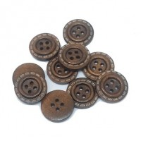 "LOGIN TO VIEW PRICINGWood ButtonStitches-Coffee20mm (3/4"") dia.Min.1 doz. - Product Image"