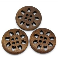 "LOGIN TO VIEW PRICINGWood ButtonSnowflake Carved25mm (1"") diaMin. 1 Doz. - Product Image"
