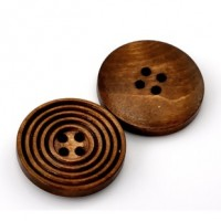 "Wood ButtonCircle Carved25mm (1"") diaMin. 1 Doz. - Product Image"