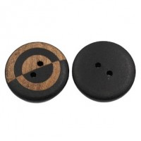 "Wood ButtonTwo-Tone23mm (7/8"") diaMin. 6 Units - Product Image"