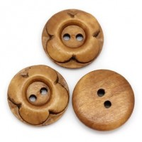 "Wood ButtonFlower20mm (3/4"") diaMin. 1 Doz. - Product Image"
