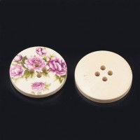"LOGIN TO VIEW PRICINGWood ButtonRoses30mm (1 3/16"") diaMin. 6 Units - Product Image"