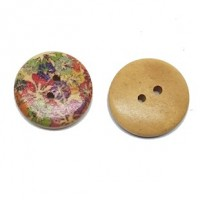 "Wood ButtonFloral24mm (7/8"") diaMin. 1 doz. - Product Image"