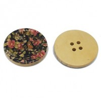 "Wood ButtonPink Flowers on Black30mm (1 3/16"") diaMin. 6 Units - Product Image"