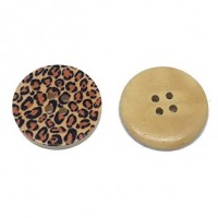 "Wood ButtonLeopard30mm (1 3/16"") diaMin. 6 Units - Product Image"