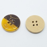 "Wood ButtonGold/Brown Enamel20mm (3/4"") diaMin. 1 Doz. - Product Image"