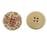 "Wood ButtonPink Flowers30mm (1 3/16"") diaMin. 6 Units - Product Image"