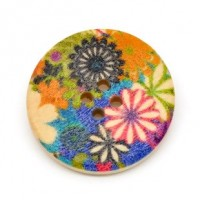 "Wood ButtonFlower30mm (1 3/16"") diaMin. 6 Units - Product Image"