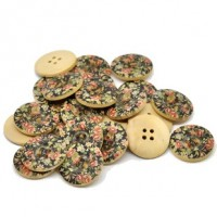 "Wood ButtonPink Flowers on Black25mm (1"") diaMin. 1 Doz. - Product Image"