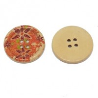 "Wood ButtonPoinsettia30mm (1 3/16"") diaMin. 6 Units - Product Image"