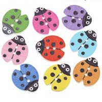 "Wood Ladybug Button18mm x 16mm(3/4"" x 5/8"")Select ColorsMin. 1 Doz - Product Image"